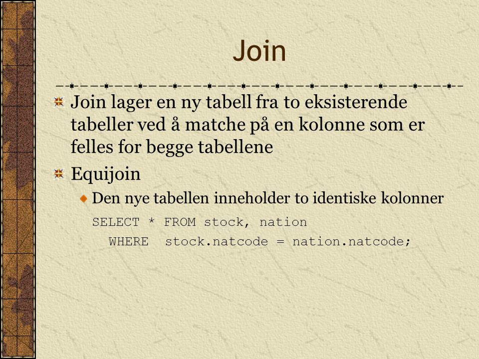 Join Join lager en ny tabell fra to eksisterende tabeller ved å matche på en kolonne som er felles for begge tabellene Equijoin Den nye tabellen inneh