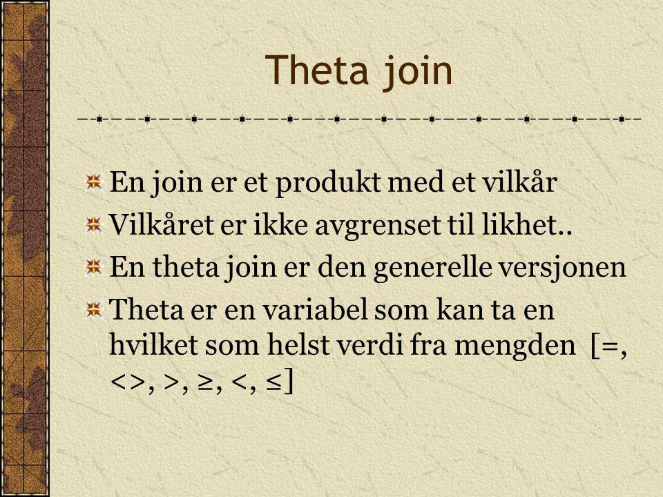 Theta join En join er et produkt med et vilkår Vilkåret er ikke avgrenset til likhet.. En theta join er den generelle versjonen Theta er en variabel s