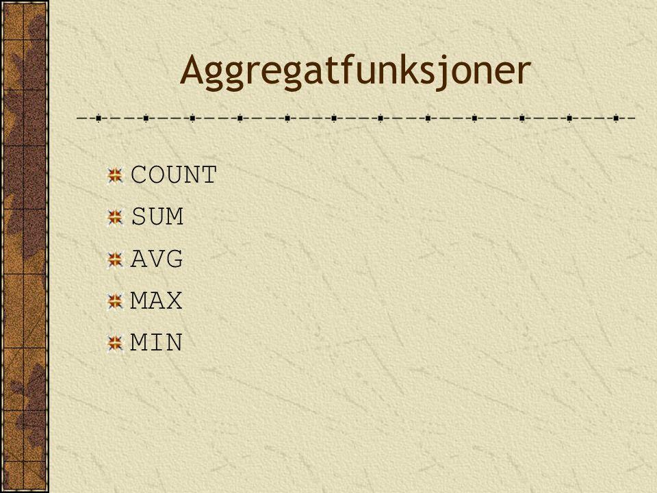 Aggregatfunksjoner COUNT SUM AVG MAX MIN