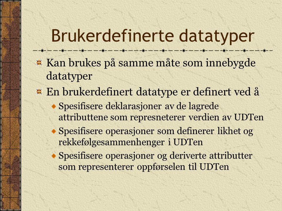 Brukerdefinerte datatyper Kan brukes på samme måte som innebygde datatyper En brukerdefinert datatype er definert ved å Spesifisere deklarasjoner av d