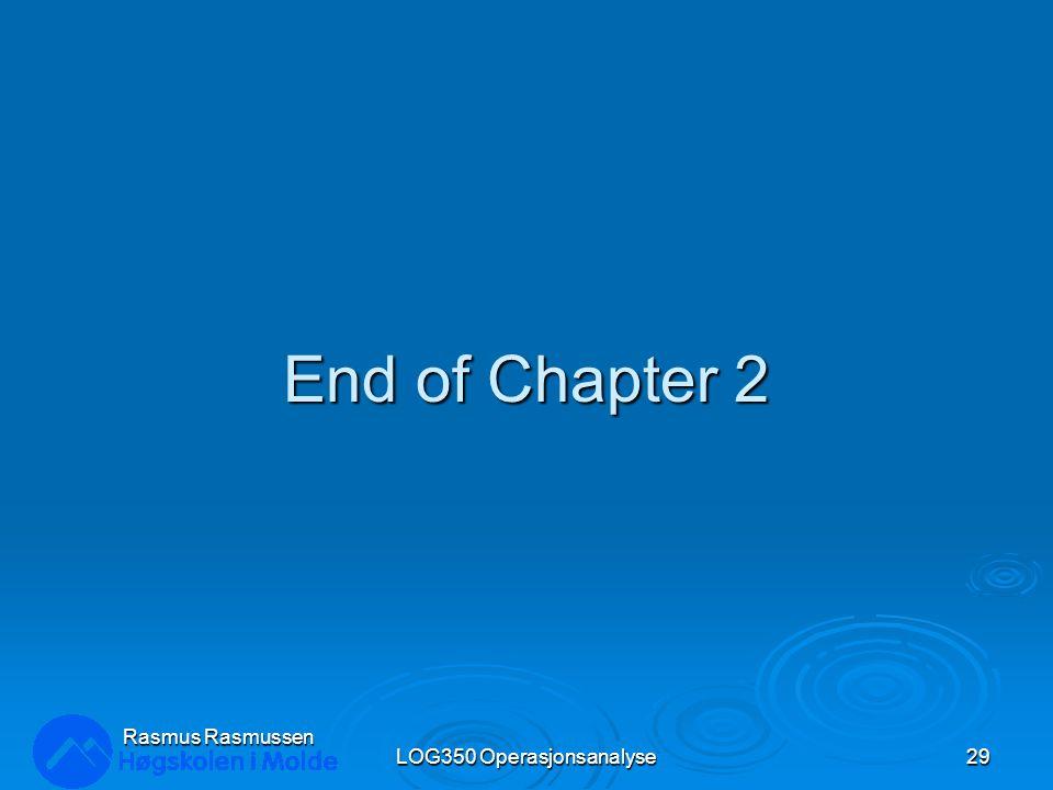 End of Chapter 2 LOG350 Operasjonsanalyse29 Rasmus Rasmussen