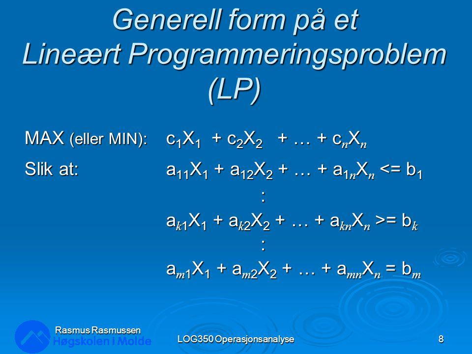 En ny nivåkurve (isobidragslinje) for målfunksjonen: LOG350 Operasjonsanalyse19 Rasmus Rasmussen X2X2 X1X1 250 200 150 100 50 0 0 100 150 200250 (0, 175) (150, 0) Målfunksjon 350X 1 + 300X 2 = 35000 Målfunksjon 350X 1 + 300X 2 = 52500