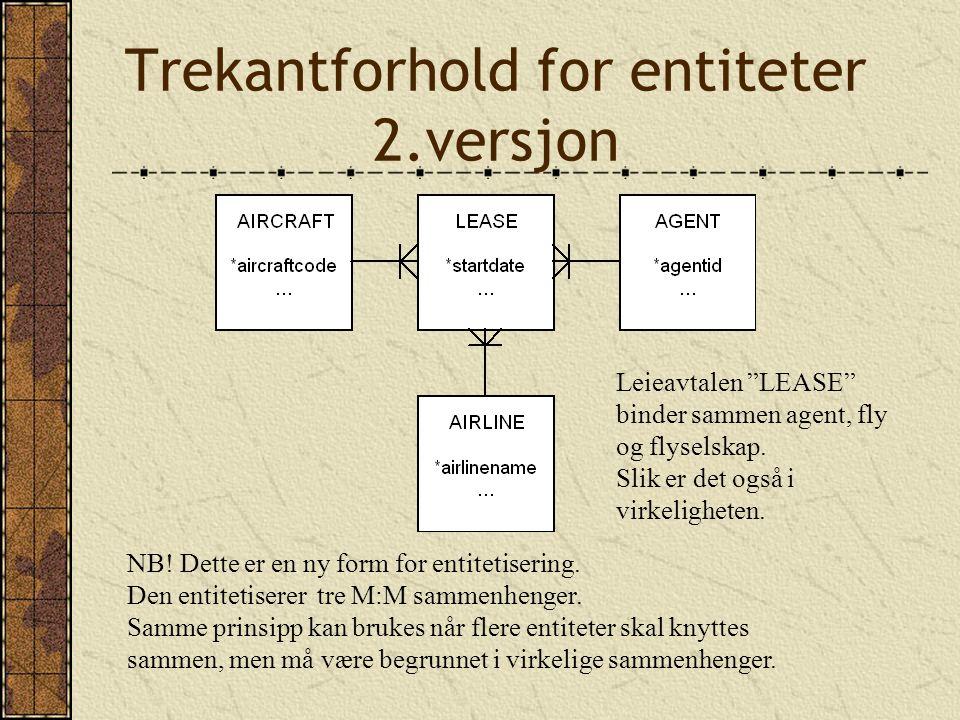 Trekantforhold for entiteter 2.versjon NB. Dette er en ny form for entitetisering.