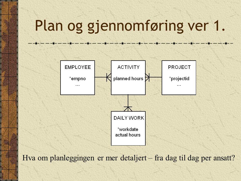 Plan og gjennomføring ver 1. Hva om planleggingen er mer detaljert – fra dag til dag per ansatt
