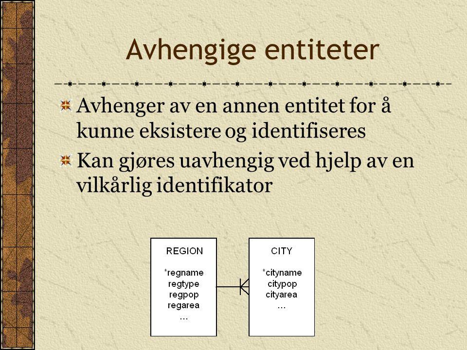 Avhengige entiteter Avhenger av en annen entitet for å kunne eksistere og identifiseres Kan gjøres uavhengig ved hjelp av en vilkårlig identifikator