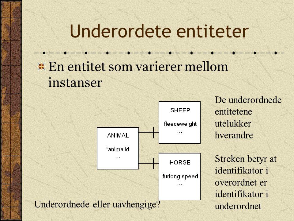 Underordete entiteter En entitet som varierer mellom instanser De underordnede entitetene utelukker hverandre Streken betyr at identifikator i overordnet er identifikator i underordnet Underordnede eller uavhengige