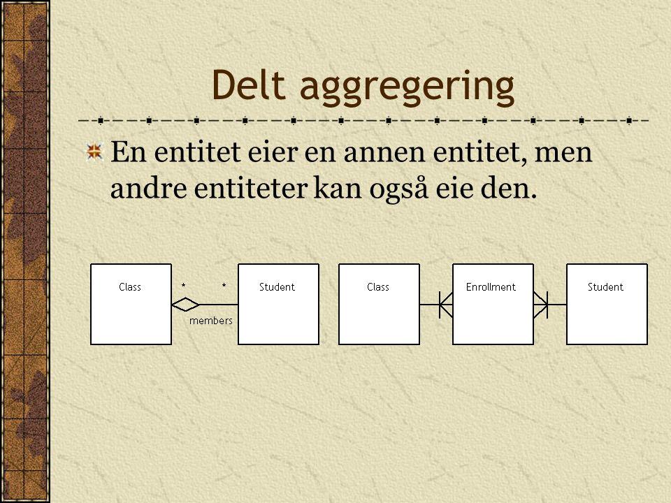 Delt aggregering En entitet eier en annen entitet, men andre entiteter kan også eie den.