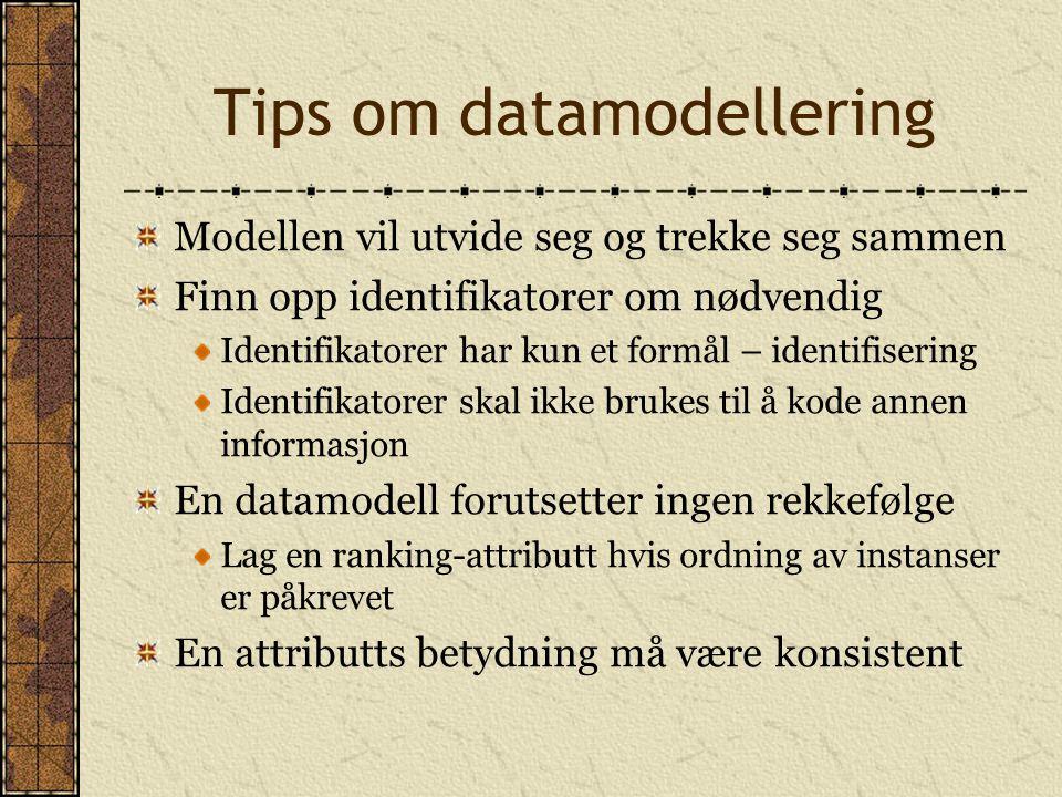 Tips om datamodellering Modellen vil utvide seg og trekke seg sammen Finn opp identifikatorer om nødvendig Identifikatorer har kun et formål – identifisering Identifikatorer skal ikke brukes til å kode annen informasjon En datamodell forutsetter ingen rekkefølge Lag en ranking-attributt hvis ordning av instanser er påkrevet En attributts betydning må være konsistent
