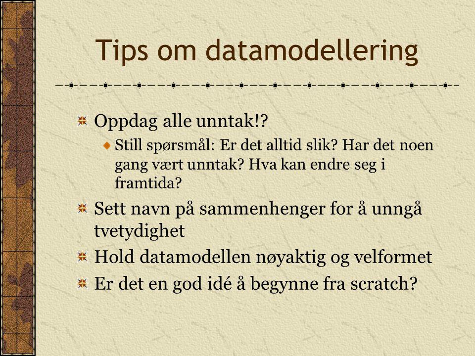 Tips om datamodellering Oppdag alle unntak!. Still spørsmål: Er det alltid slik.