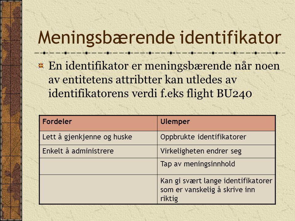 Meningsbærende identifikator En identifikator er meningsbærende når noen av entitetens attribtter kan utledes av identifikatorens verdi f.eks flight BU240 FordelerUlemper Lett å gjenkjenne og huskeOppbrukte identifikatorer Enkelt å administrereVirkeligheten endrer seg Tap av meningsinnhold Kan gi svært lange identifikatorer som er vanskelig å skrive inn riktig