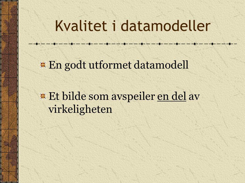 Kvalitet i datamodeller En godt utformet datamodell Et bilde som avspeiler en del av virkeligheten