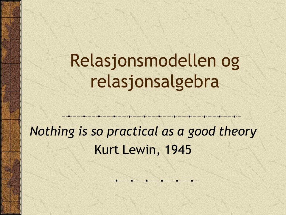 Relasjonsmodellen Løser mangler ved tidligere databasemodeller Har et sterkt teoretisk grunnlag Grunnlaget ble hovedsakelig lagt av Codd