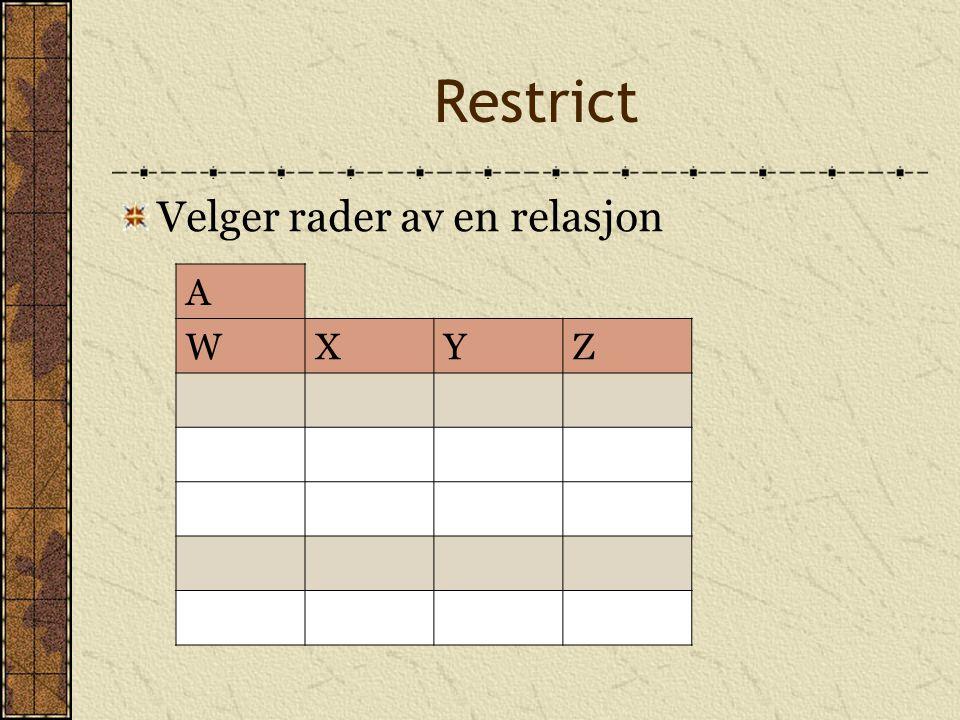 Restrict Velger rader av en relasjon A WXYZ