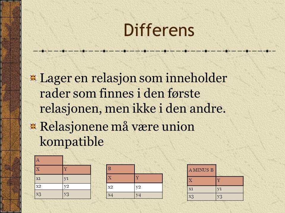 Differens Lager en relasjon som inneholder rader som finnes i den første relasjonen, men ikke i den andre. Relasjonene må være union kompatible A XY x