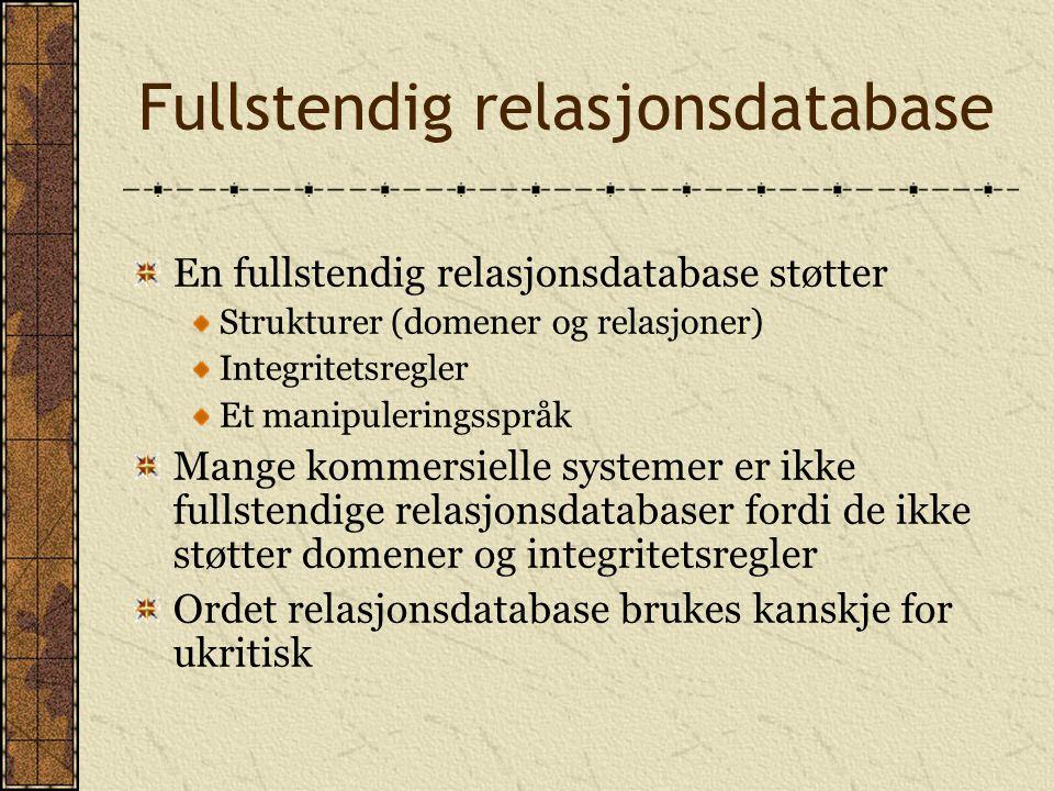 Fullstendig relasjonsdatabase En fullstendig relasjonsdatabase støtter Strukturer (domener og relasjoner) Integritetsregler Et manipuleringsspråk Mang