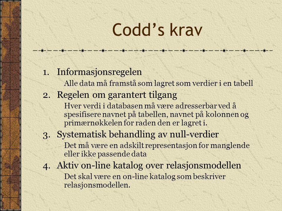 Codd's krav 1.Informasjonsregelen Alle data må framstå som lagret som verdier i en tabell 2.Regelen om garantert tilgang Hver verdi i databasen må vær