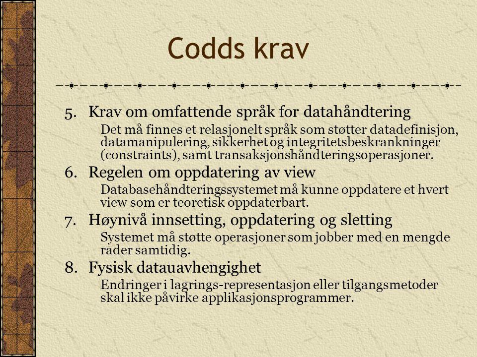 Codds krav 5.Krav om omfattende språk for datahåndtering Det må finnes et relasjonelt språk som støtter datadefinisjon, datamanipulering, sikkerhet og