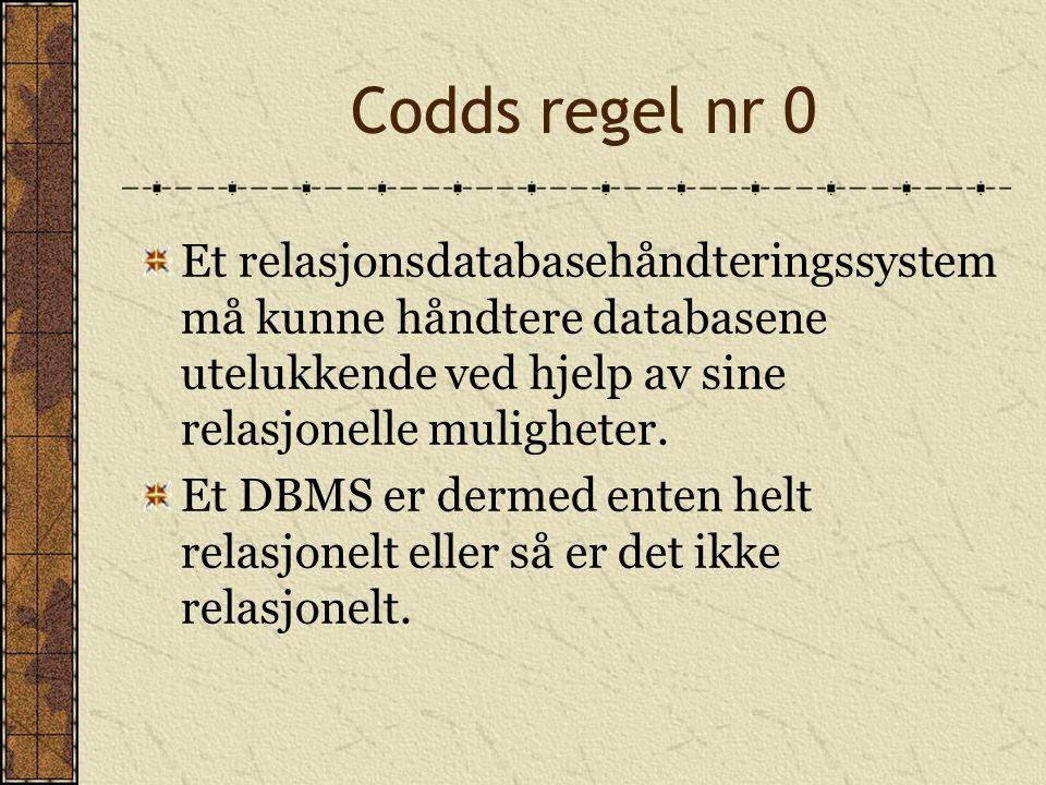 Codds regel nr 0 Et relasjonsdatabasehåndteringssystem må kunne håndtere databasene utelukkende ved hjelp av sine relasjonelle muligheter. Et DBMS er