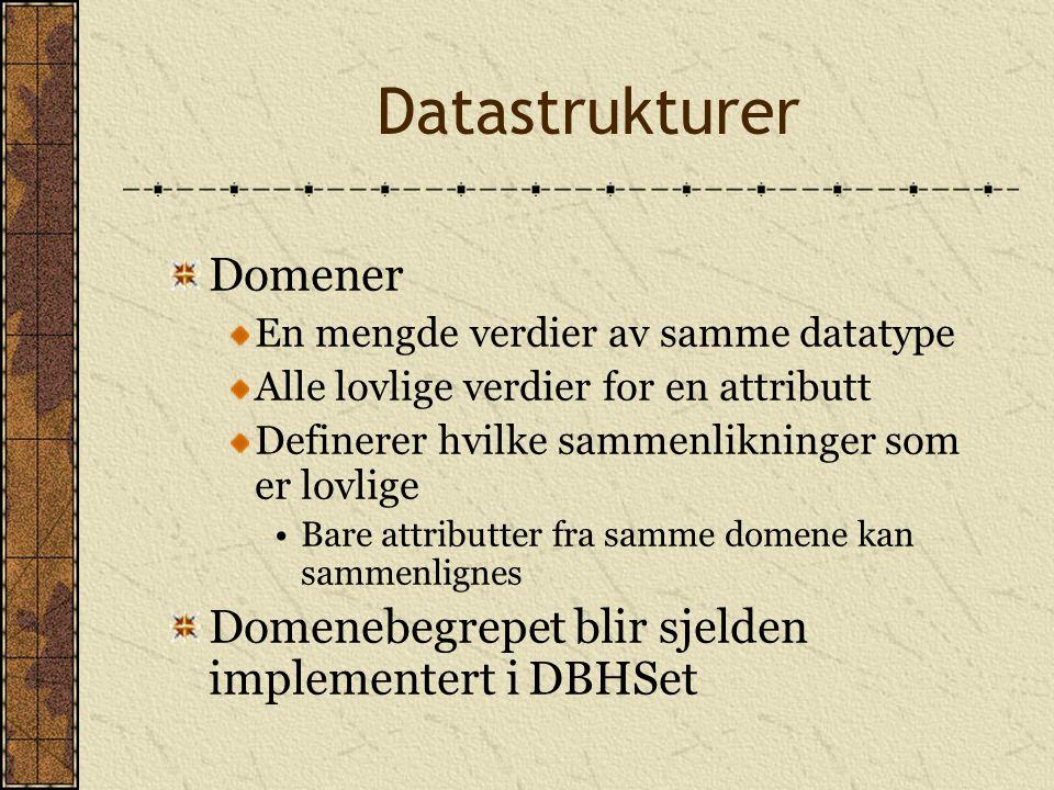 Datastrukturer Domener En mengde verdier av samme datatype Alle lovlige verdier for en attributt Definerer hvilke sammenlikninger som er lovlige Bare