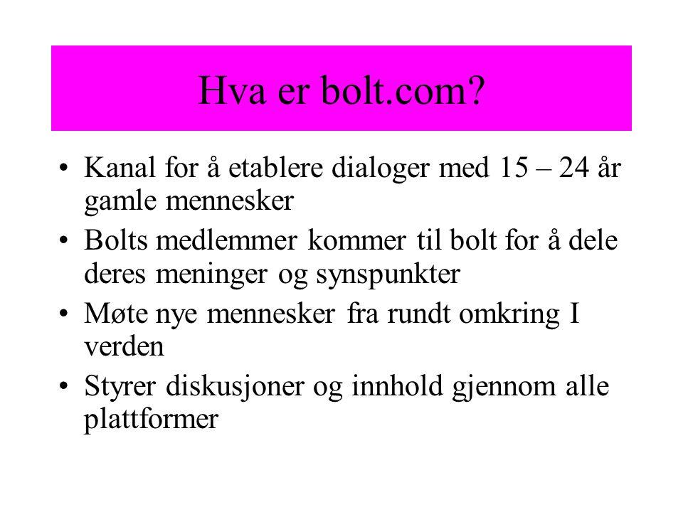 Hva er bolt.com? Kanal for å etablere dialoger med 15 – 24 år gamle mennesker Bolts medlemmer kommer til bolt for å dele deres meninger og synspunkter