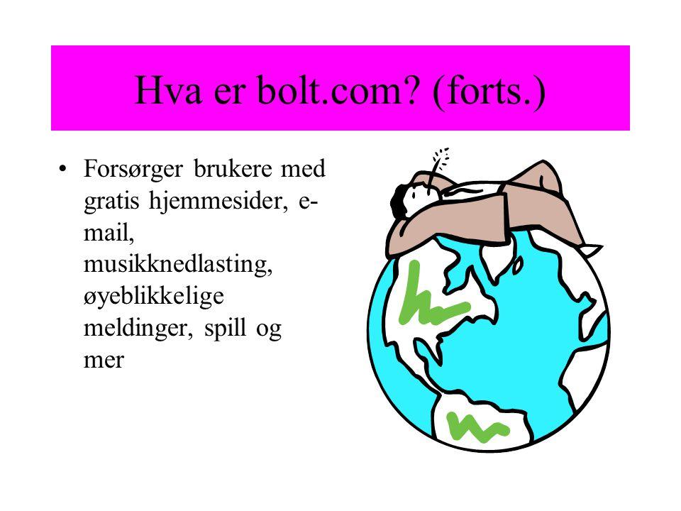 Hva er bolt.com? (forts.) Forsørger brukere med gratis hjemmesider, e- mail, musikknedlasting, øyeblikkelige meldinger, spill og mer