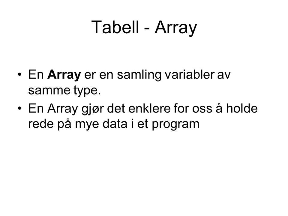 Tabell - Array En Array er en samling variabler av samme type. En Array gjør det enklere for oss å holde rede på mye data i et program
