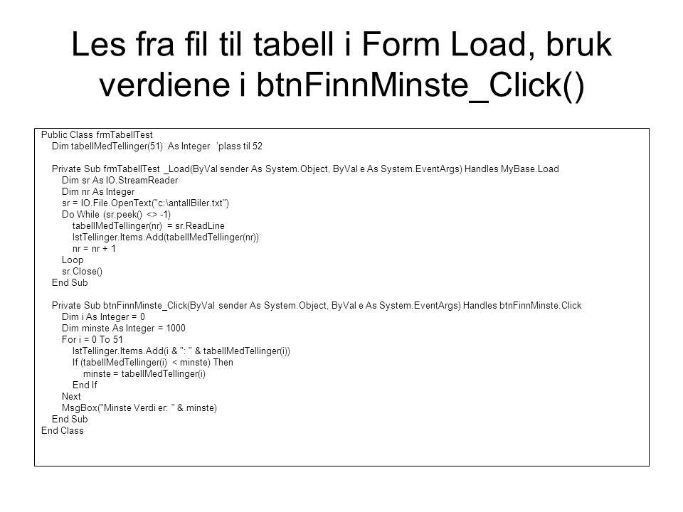Les fra fil til tabell i Form Load, bruk verdiene i btnFinnMinste_Click() Public Class frmTabellTest Dim tabellMedTellinger(51) As Integer 'plass til