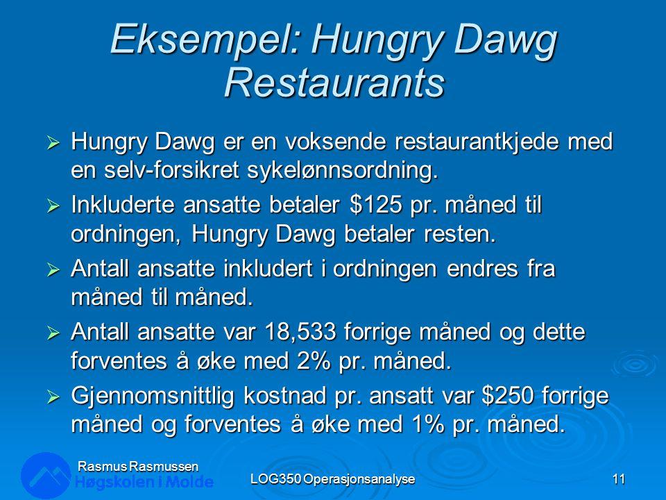 Eksempel: Hungry Dawg Restaurants  Hungry Dawg er en voksende restaurantkjede med en selv-forsikret sykelønnsordning.  Inkluderte ansatte betaler $1
