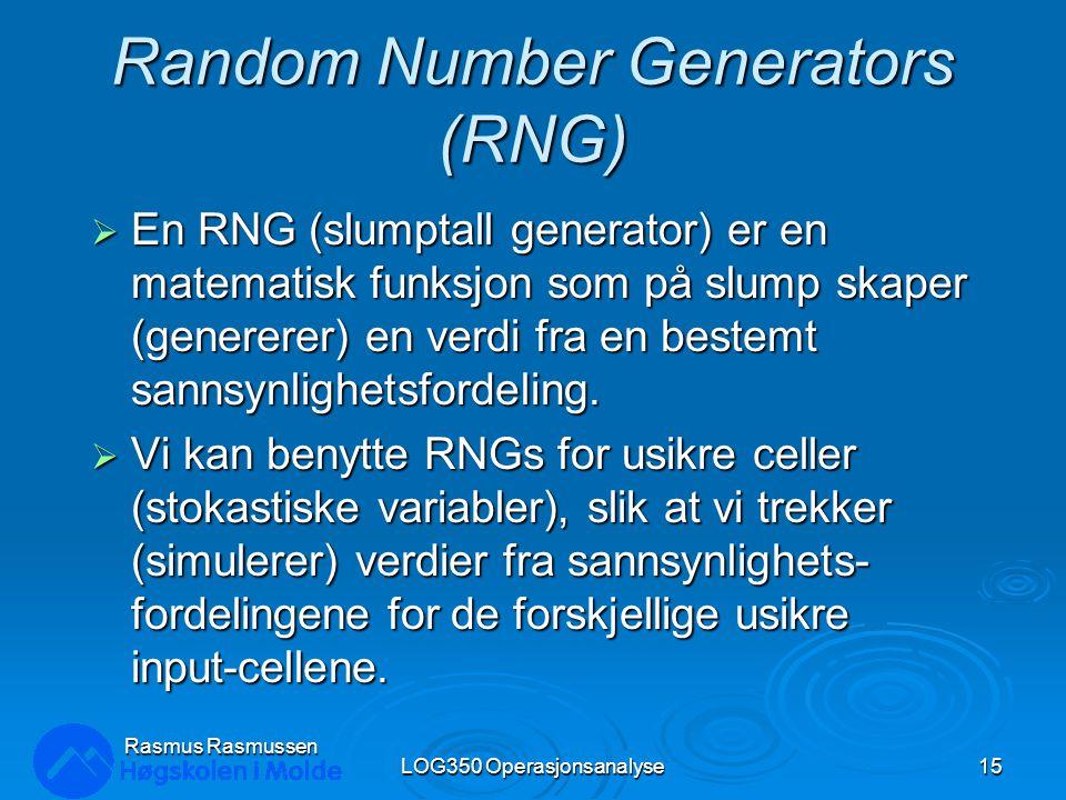 Random Number Generators (RNG)  En RNG (slumptall generator) er en matematisk funksjon som på slump skaper (genererer) en verdi fra en bestemt sannsy