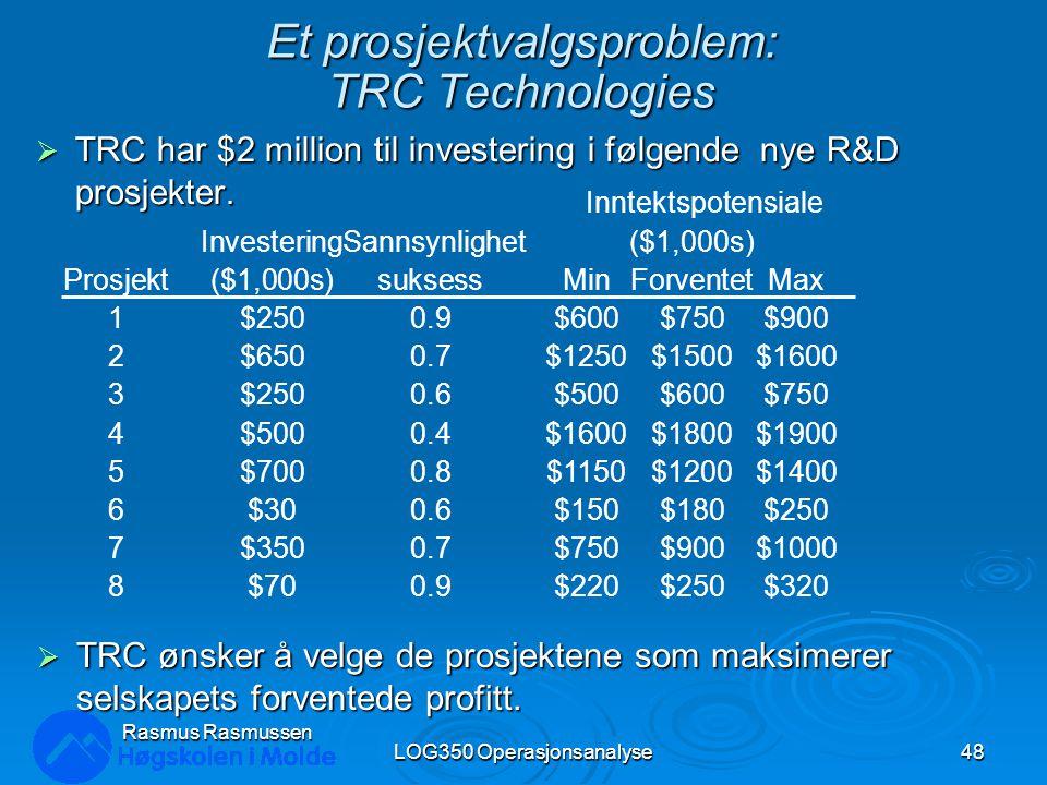 Et prosjektvalgsproblem: TRC Technologies  TRC har $2 million til investering i følgende nye R&D prosjekter. LOG350 Operasjonsanalyse48 Rasmus Rasmus