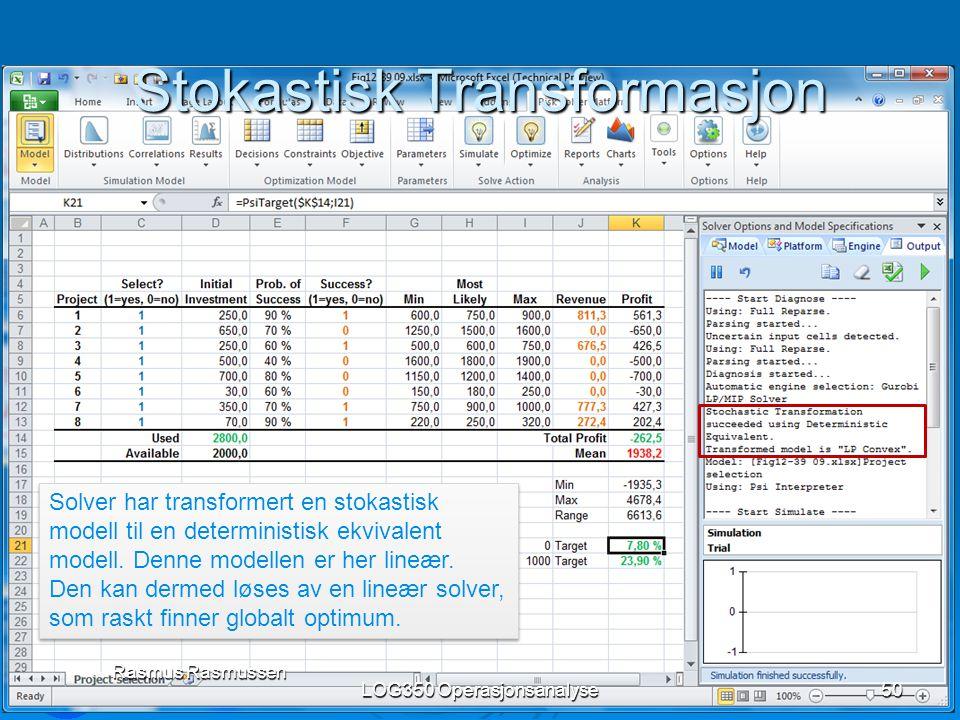 Stokastisk Transformasjon LOG350 Operasjonsanalyse50 Rasmus Rasmussen Solver har transformert en stokastisk modell til en deterministisk ekvivalent mo