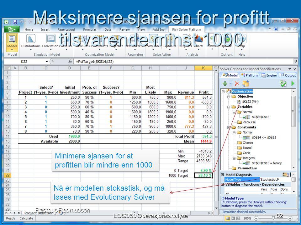 Maksimere sjansen for profitt tilsvarende minst 1000 LOG350 Operasjonsanalyse52 Rasmus Rasmussen Minimere sjansen for at profitten blir mindre enn 100
