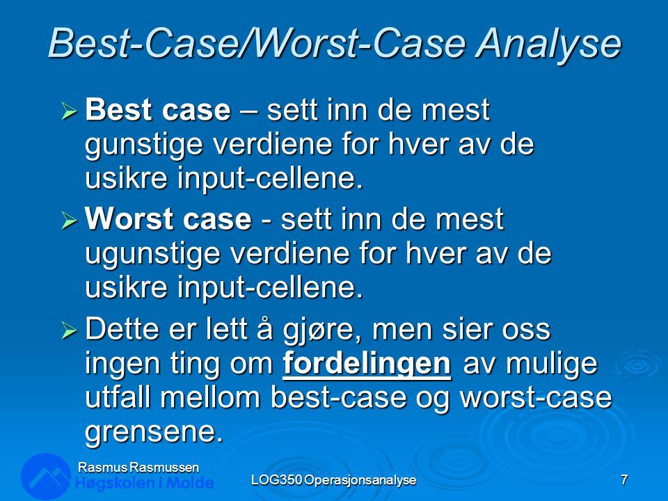 Mulige resultatfordelinger innenfor et område LOG350 Operasjonsanalyse8 Rasmus Rasmussen worst casebest caseworst casebest caseworst casebest caseworst casebest case