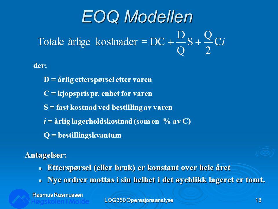 EOQ Modellen Antagelser: Etterspørsel (eller bruk) er konstant over hele året Etterspørsel (eller bruk) er konstant over hele året Nye ordrer mottas i sin helhet i det øyeblikk lageret er tomt.