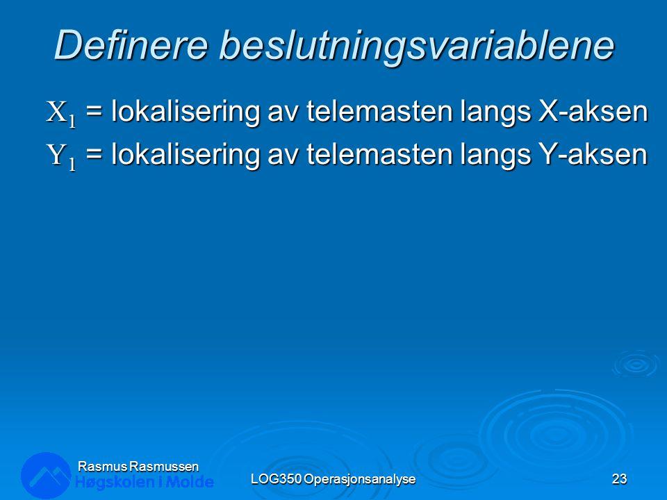Definere beslutningsvariablene X 1 = lokalisering av telemasten langs X-aksen Y 1 = lokalisering av telemasten langs Y-aksen LOG350 Operasjonsanalyse23 Rasmus Rasmussen