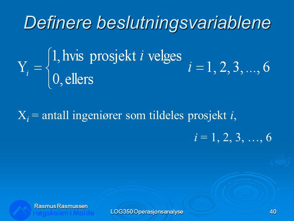 Definere beslutningsvariablene LOG350 Operasjonsanalyse40 Rasmus Rasmussen X i = antall ingeniører som tildeles prosjekt i, i = 1, 2, 3, …, 6