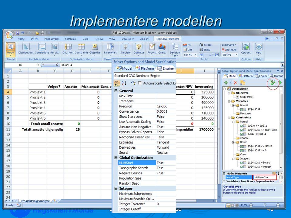 Implementere modellen LOG350 Operasjonsanalyse43 Rasmus Rasmussen