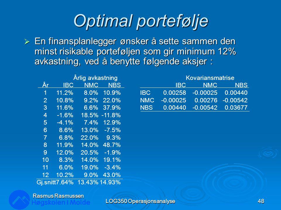 Optimal portefølje  En finansplanlegger ønsker å sette sammen den minst risikable porteføljen som gir minimum 12% avkastning, ved å benytte følgende aksjer : LOG350 Operasjonsanalyse48 Rasmus Rasmussen Årlig avkastning ÅrIBCNMCNBS 111.2%8.0%10.9% 210.8%9.2%22.0% 311.6%6.6%37.9% 4-1.6%18.5%-11.8% 5-4.1%7.4%12.9% 68.6%13.0%-7.5% 76.8%22.0%9.3% 811.9%14.0%48.7% 912.0%20.5%-1.9% 108.3%14.0%19.1% 116.0%19.0%-3.4% 1210.2%9.0%43.0% Gj.snitt7.64%13.43%14.93% Kovariansmatrise IBCNMCNBS IBC0.00258-0.000250.00440 NMC-0.000250.00276-0.00542 NBS0.00440-0.005420.03677