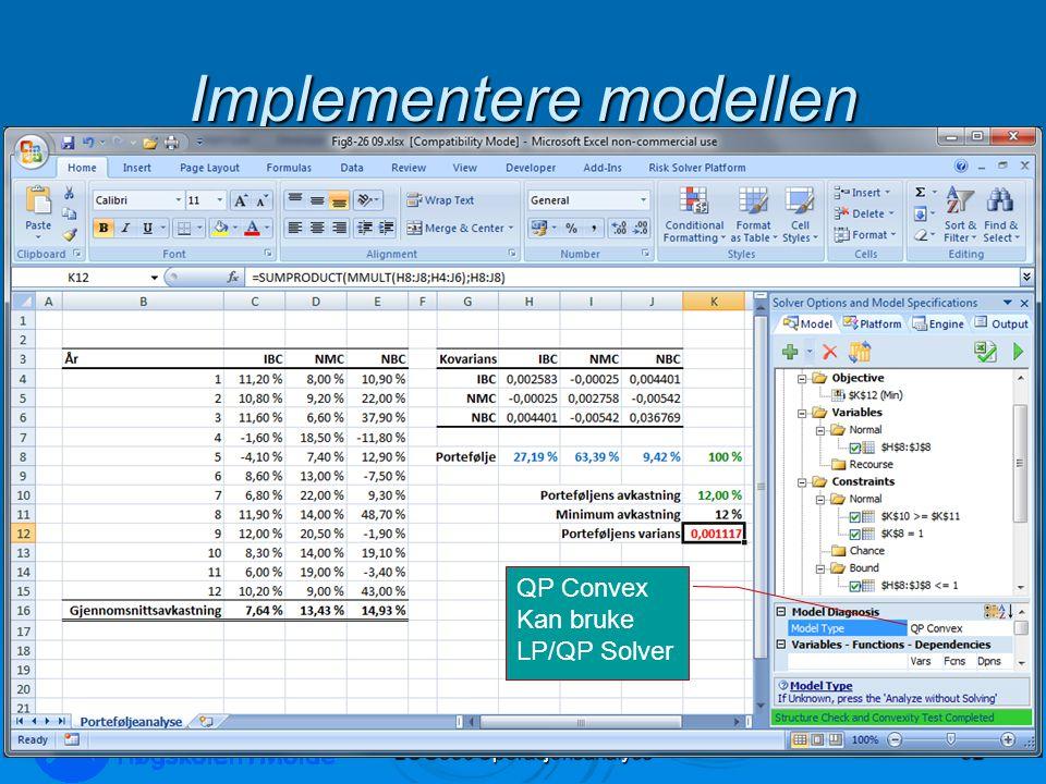 Implementere modellen LOG350 Operasjonsanalyse52 Rasmus Rasmussen QP Convex Kan bruke LP/QP Solver