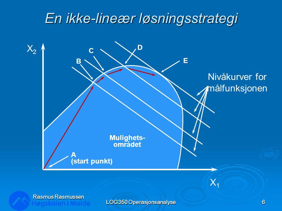 En ikke-lineær løsningsstrategi LOG350 Operasjonsanalyse6 Rasmus Rasmussen Mulighets- området A (start punkt) B C D E Nivåkurver for målfunksjonen X1X1 X2X2