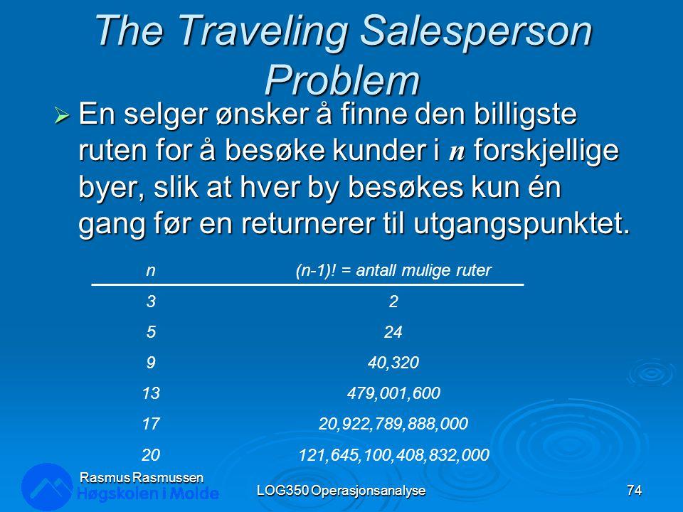 The Traveling Salesperson Problem  En selger ønsker å finne den billigste ruten for å besøke kunder i n forskjellige byer, slik at hver by besøkes kun én gang før en returnerer til utgangspunktet.