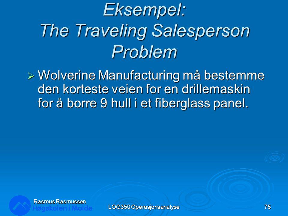 Eksempel: The Traveling Salesperson Problem  Wolverine Manufacturing må bestemme den korteste veien for en drillemaskin for å borre 9 hull i et fiberglass panel.