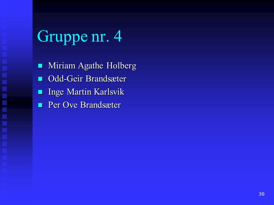 30 Gruppe nr. 4 Miriam Agathe Holberg Miriam Agathe Holberg Odd-Geir Brandsæter Odd-Geir Brandsæter Inge Martin Karlsvik Inge Martin Karlsvik Per Ove