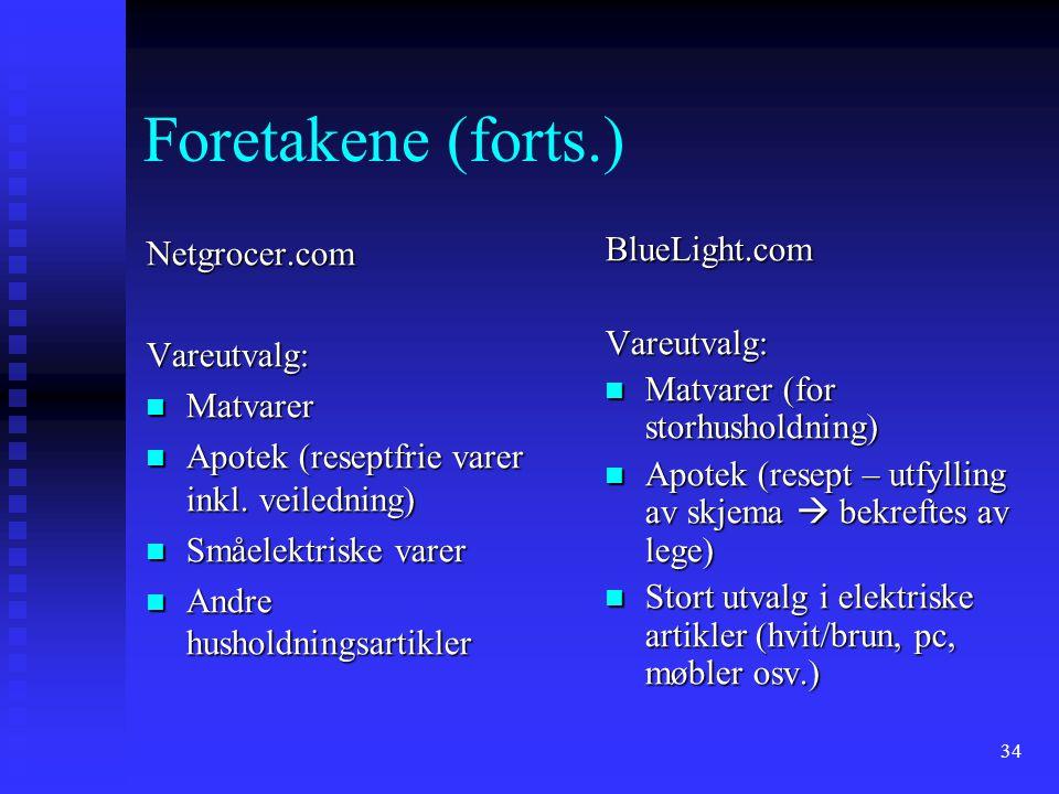34 Foretakene (forts.) Netgrocer.comVareutvalg: Matvarer Matvarer Apotek (reseptfrie varer inkl. veiledning) Apotek (reseptfrie varer inkl. veiledning