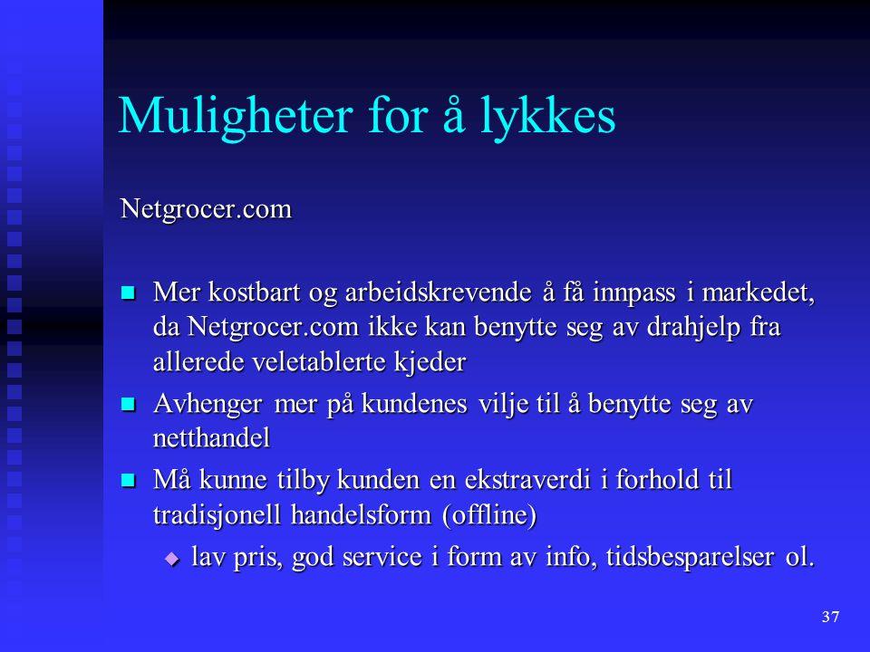 37 Muligheter for å lykkes Netgrocer.com Mer kostbart og arbeidskrevende å få innpass i markedet, da Netgrocer.com ikke kan benytte seg av drahjelp fr