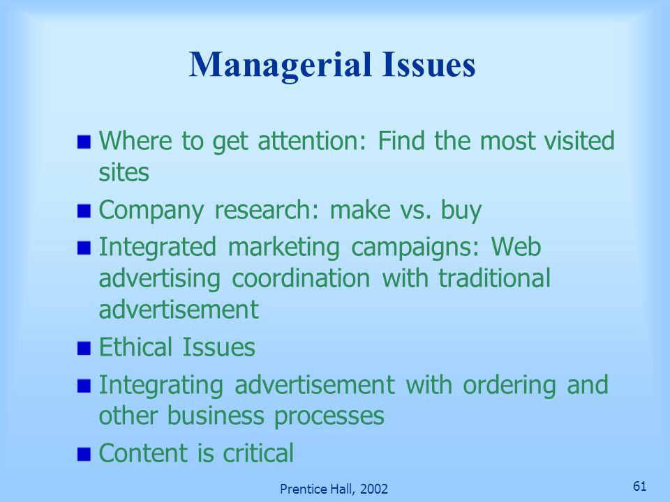 Prentice Hall, 2002 61 Managerial Issues Where to get attention: Find the most visited sites Company research: make vs.