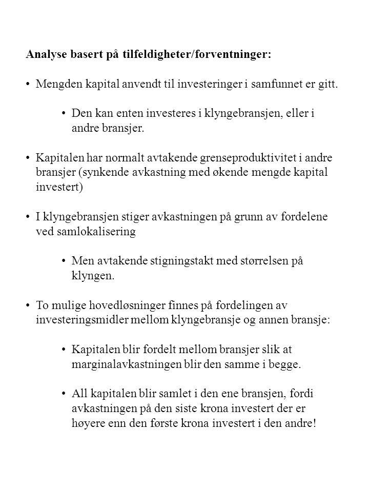 Analyse basert på tilfeldigheter/forventninger: Mengden kapital anvendt til investeringer i samfunnet er gitt.