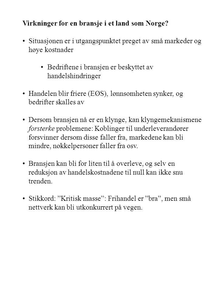 Virkninger for en bransje i et land som Norge.