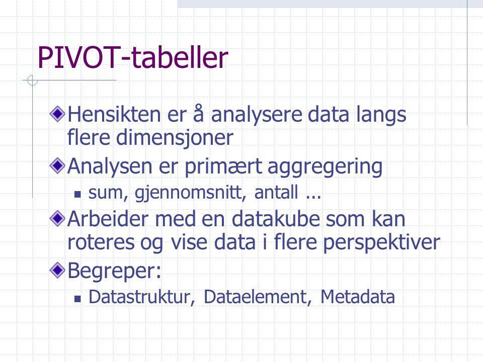 PIVOT-tabeller Hensikten er å analysere data langs flere dimensjoner Analysen er primært aggregering sum, gjennomsnitt, antall... Arbeider med en data