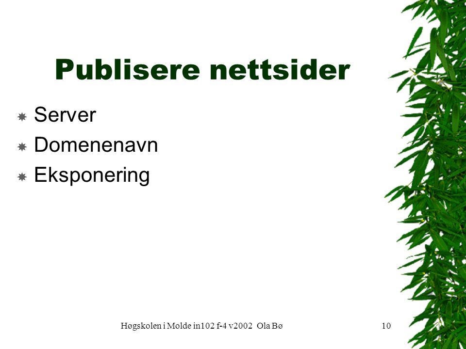 Høgskolen i Molde in102 f-4 v2002 Ola Bø10 Publisere nettsider  Server  Domenenavn  Eksponering